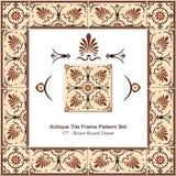 Antyk płytki ramy wzoru set_177 Brown Round kwiat royalty ilustracja