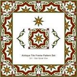 Antyk płytki ramy wzoru set_241 gwiazdy spirali winograd ilustracja wektor