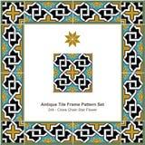 Antyk płytki ramy wzoru set_244 krzyża łańcuchu gwiazdy kwiat royalty ilustracja