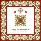 Antyk płytki ramy wzoru set_077 krzyża rewolucjonistki gwiazdy kwiat royalty ilustracja