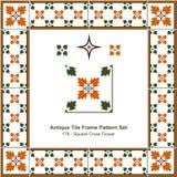 Antyk płytki ramy wzoru set_178 kwadrata krzyża kwiat royalty ilustracja