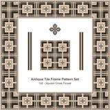 Antyk płytki ramy wzoru set_192 kwadrata krzyża kwiat ilustracja wektor