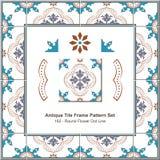 Antyk płytki ramy wzoru set_182 kwiatu kropki Round linia ilustracja wektor