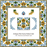 Antyk płytki ramy wzoru set_187 kwiatu Round Koszowy liść royalty ilustracja
