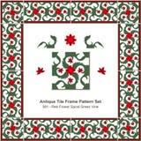 Antyk płytki ramy wzoru set_081 kwiatu spirali zieleni Czerwony winograd ilustracja wektor