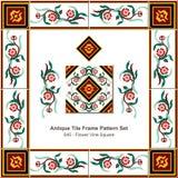 Antyk płytki ramy wzoru set_045 kwiatu winogradu kwadrat ilustracja wektor