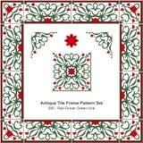 Antyk płytki ramy wzoru set_080 kwiatu zieleni Czerwony winograd ilustracji