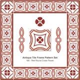 Antyk płytki ramy wzoru set_180 Round krzyża Czerwony kwiat royalty ilustracja