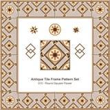 Antyk płytki ramy wzoru set_015 Round Kwadratowy kwiat royalty ilustracja