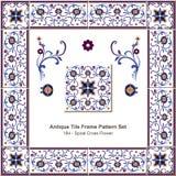 Antyk płytki ramy wzoru set_184 spirali krzyża kwiat royalty ilustracja