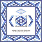 Antyk płytki ramy wzoru set_168 trójboka geometrii Błękitny kwiat royalty ilustracja