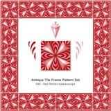 Antyk płytki ramy wzoru set_048 ukośnika Czerwony kalejdoskop royalty ilustracja