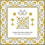 Antyk płytki ramy wzoru set_078 Złoty Popielaty kalejdoskop ilustracja wektor
