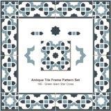 Antyk płytki ramy wzoru set_165 zieleni islamu gwiazdy krzyż ilustracja wektor