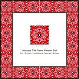 Antyk płytki ramy wzoru wieloboka gwiazdy geometrii ustalony czerwony triangl royalty ilustracja