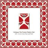 Antyk płytki ramy wzoru wieloboka gwiazdy geometrii ustalony czerwony triangl ilustracji