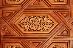 Antyk rzeźbił drewnianego ornament w Alhambra, Hiszpania Obrazy Royalty Free