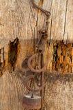 Antyk waży rdzewiejącego żelazo z ciężarami Obraz Stock