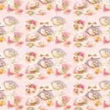 Antyka Różowy Wiktoriański fan i kwiatu wzoru tło royalty ilustracja