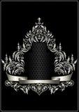 Antyka srebra rama z heraldyką i dekoracyjnym faborkiem Zdjęcia Royalty Free