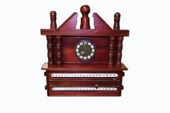 Antyka zegar z elegancki drewno rzeźbiącą dekoracją Zdjęcia Royalty Free