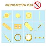 Antykoncepcj ikony ustawiać, kontrola urodzin royalty ilustracja
