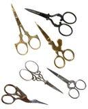 Antykwarscy nożyce z ścinek ścieżkami Kolekcja Obraz Stock