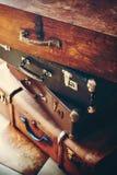 Antykwarscy roczników bagażniki, rękojeści z kędziorkami i Zdjęcie Royalty Free