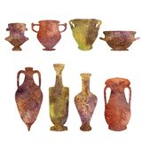 Antykwarska ceramika, akwareli sylwetki obraz royalty free