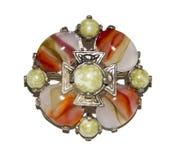 Antykwarska Dekoracyjna Jewellery broszka na Białym tle zdjęcie stock