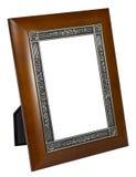 Antykwarska drewniana fotografii rama odizolowywająca na białym tle obraz royalty free
