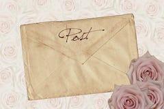 Antykwarska koperta z różami fotografia royalty free