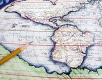 antykwarska mapę ameryki Fotografia Stock