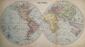 Antykwarska mapa świat Zdjęcia Royalty Free