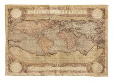 Antykwarska mapa światowa makata odizolowywająca na bielu kartografia fotografia royalty free
