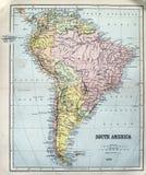 Antykwarska mapa Ameryka Południowa Fotografia Stock
