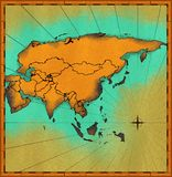 antykwarska mapa Azji Zdjęcie Royalty Free