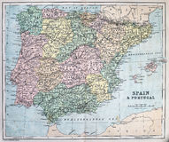 Antykwarska mapa Hiszpania i Portugalia Fotografia Royalty Free