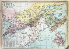 Antykwarska mapa Kanada Obrazy Stock