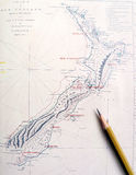 antykwarska mapa nowy Zealand zdjęcia royalty free