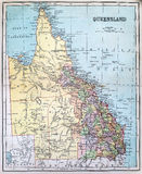 Antykwarska mapa Queensland Obraz Royalty Free