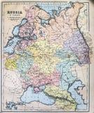 Antykwarska mapa Rosja w Europa Obrazy Royalty Free