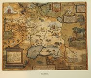 antykwarska mapa Russia zdjęcia royalty free