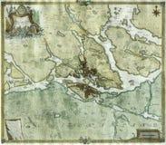 Antykwarska mapa Sztokholm, Szwecja Zdjęcia Stock