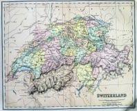 Antykwarska mapa Szwajcaria Zdjęcie Royalty Free