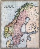 Antykwarska mapa Szwecja i Norwegia Fotografia Stock