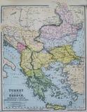 Antykwarska mapa Turcja i Grecja Fotografia Royalty Free
