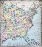 Antykwarska mapa wschodni stany usa Fotografia Royalty Free