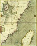 Antykwarska mapa wybrzeże Chiny ilustracja wektor