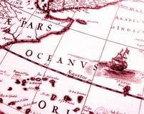 antykwarska mapa wyszczególnia żeglowanie Zdjęcie Royalty Free